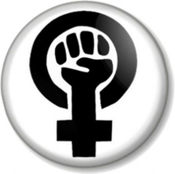 Feminist Symbol Pinback Button Badge Feminism Fist Women's Rights Activism Protest - White